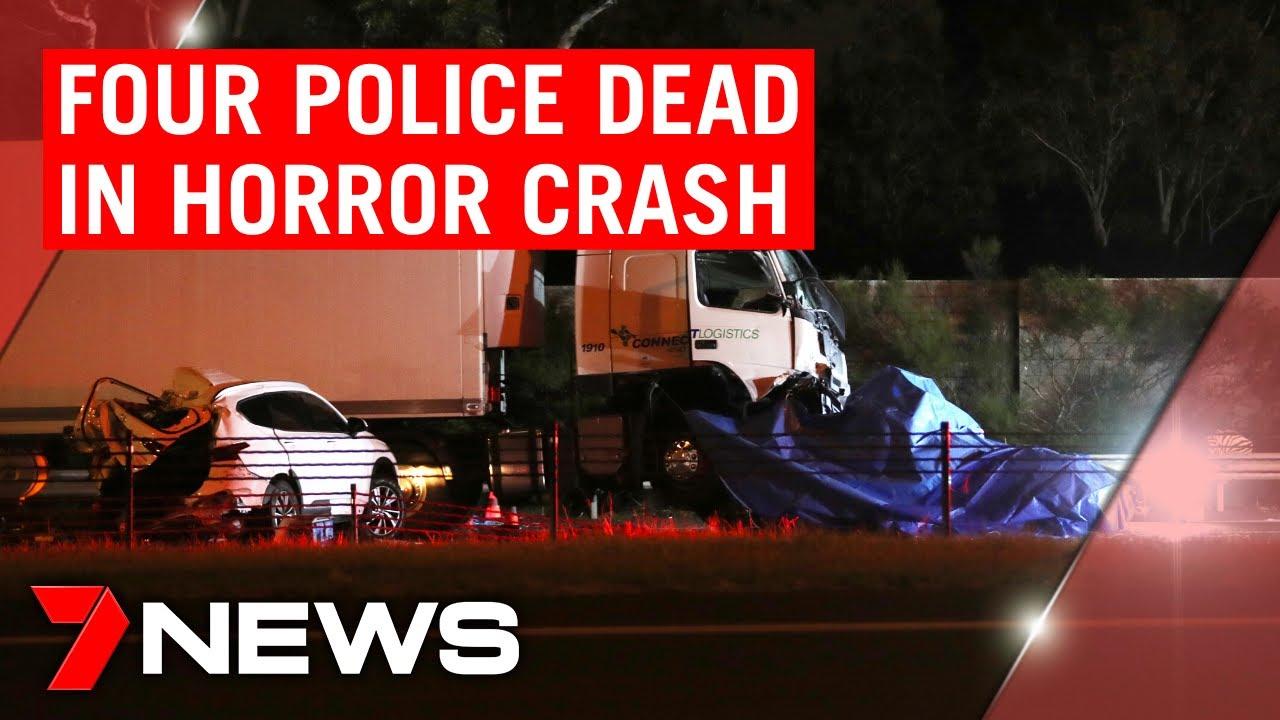 BREAKING: Four police officers dead in horror Eastern Freeway crash | 7NEWS