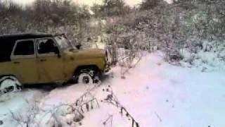 уаз зима снег