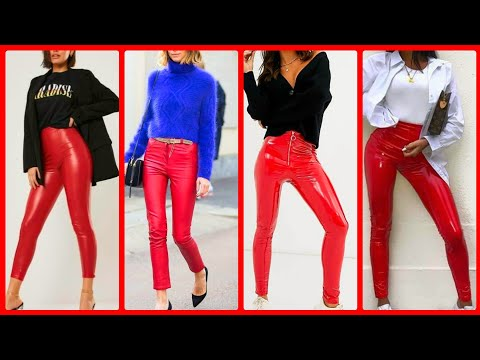 Latest red  leather leggings design western leather pants design ideas