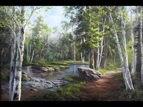 Hidden Birch Trees - Oil Painting