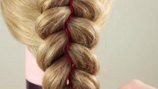 Как заплести косичку из 5 прядей (c двумя лентами). Braiding with five strand(3 strands+2 ribbons)