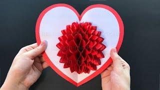 Basteln für Ostern mit Papier ❤ DIY Pop Up Karten Geschenk selber machen: Herz, Blume. Osterbasteln