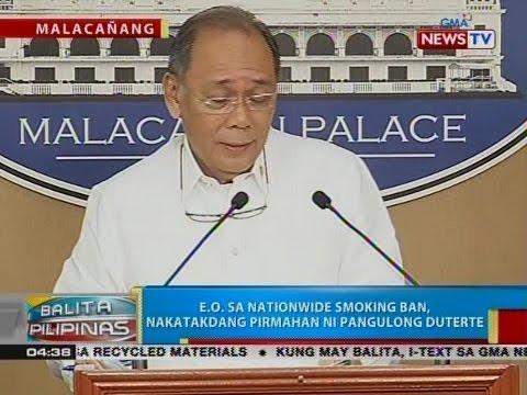 BP: E.O. sa nationwide smoking ban, nakatakdang pirmahan ni Pangulong Duterte