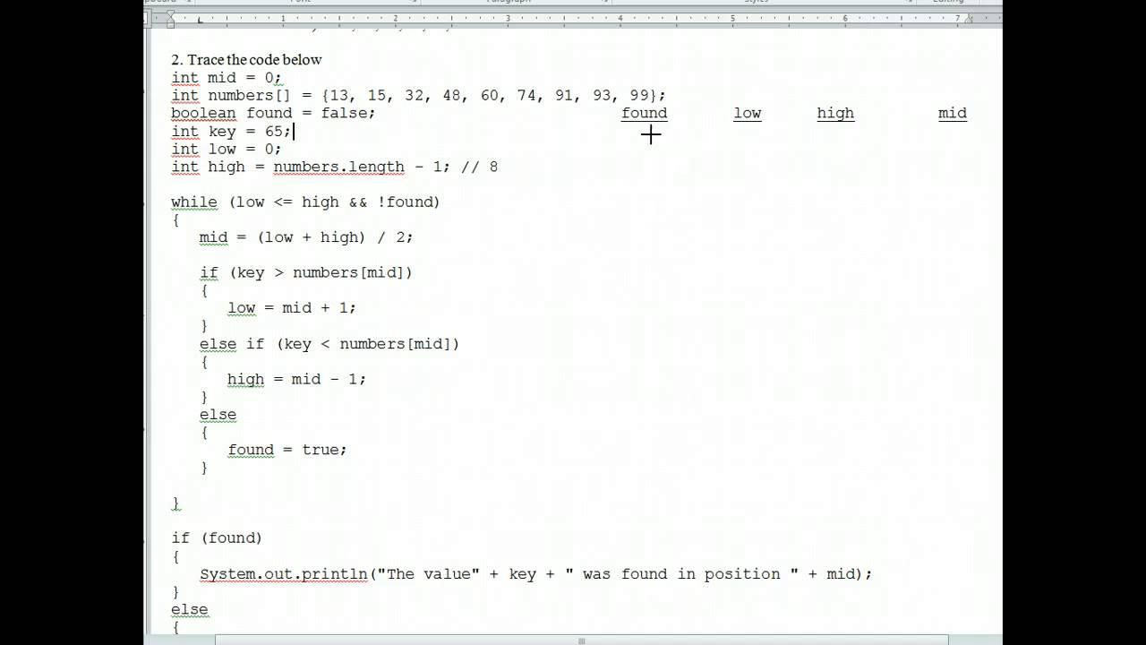 Ap Java Binary Searching Worksheet 1 Youtube