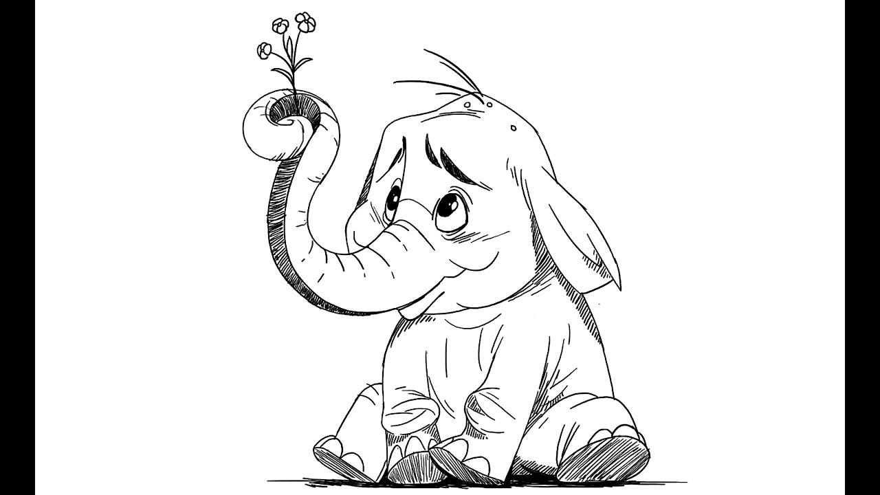 How to draw Cartoon Elephant - YouTube