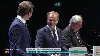 Pressekonferenz von Kurz, Tusk und Juncker nach dem EU-Gipfel am 20.09.18
