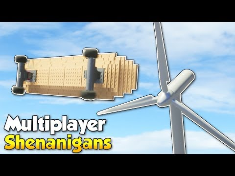 GIANT SKATEBOARD CRASHES INTO TURBINE! - Brick Rigs Multiplayer Gameplay & Update!