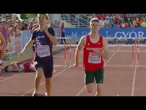 Boys 400m Hurdles at U18 European Champ  Győr 2018