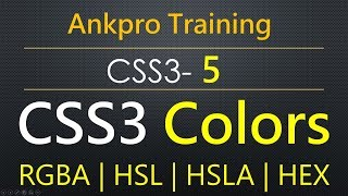 CSS3 5 - Colors in CSS | RGBA color value | HSL color value | HSLA color value | hex color value