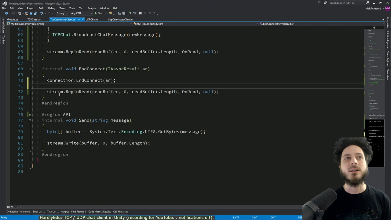 TCP & UDP chat client/server in C# Unity3d [HardlyEdu: Multiplayer Game  Programming chapter 3]