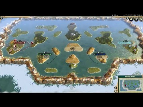 CIV5: England vs Indonesia on an Archipelago Map