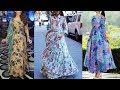 Top Most Unique floral Print Floor Length gown dresses
