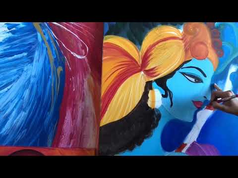 How to do Radha Krishna painting , abstract, modern paintings, step by step art, beginners paintings