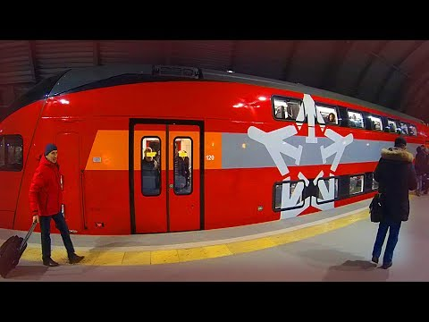 Inside Russian NEW double-decker EXPRESS TRAIN from MOSCOW AIRPORT