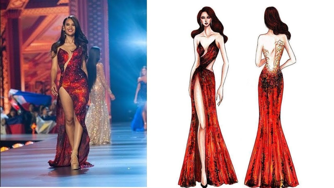 Details Of Catriona Grayu0026#39;s U0026quot;Mayonu0026quot; Evening Gown || Lava Gown - YouTube