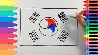 How to Draw South Korea Flag - Drawing the South Korean Flag - Art Colors for Kids | Tanimated Toys