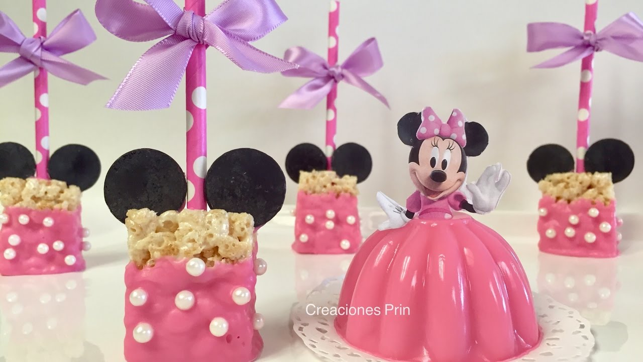 Rice Krispies Minnie mouse, paletas de Arroz inflado - YouTube