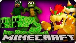 Minecraft - MODDED CREEPER RACE IN BOWSERS CASTLE! - Animal Bikes Mod