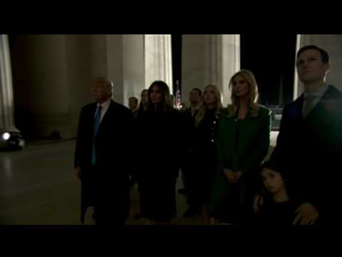 Donald Trump And Family Reflecting At The Lincoln Memorial On The Eve Of Inauguration Day