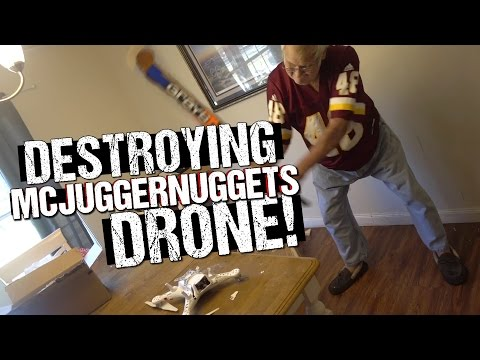 ANGRY GRANDPA DESTROYS MCJUGGERNUGGETS DRONE!!
