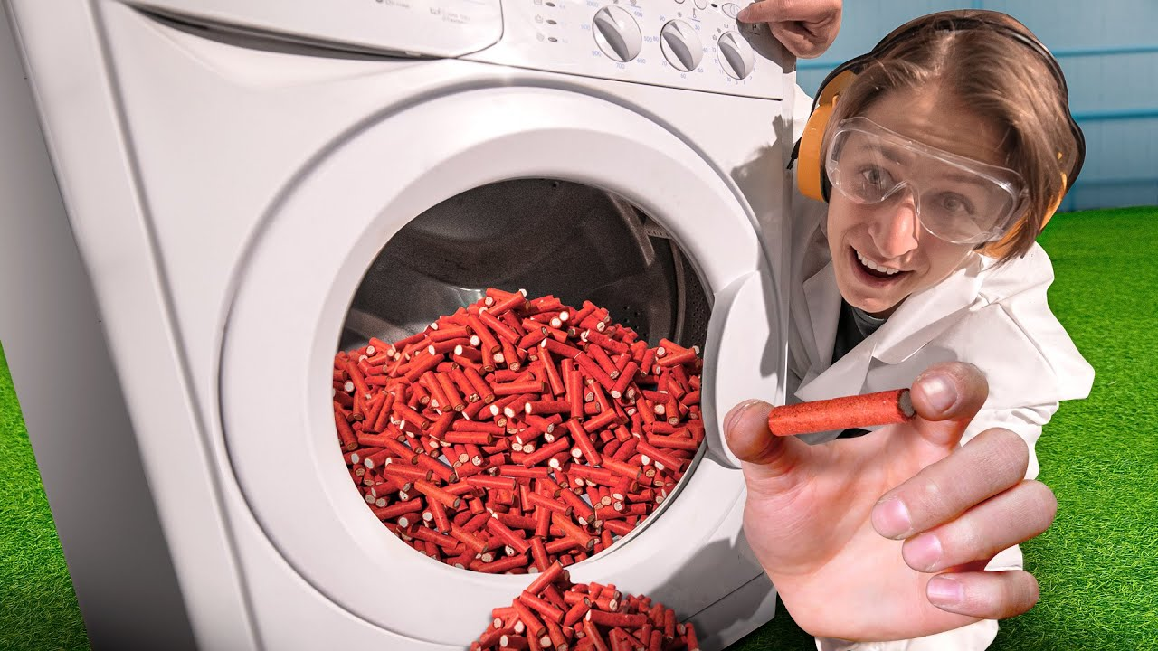 10 000 петард взрывающихся от удара в стиральной машине!