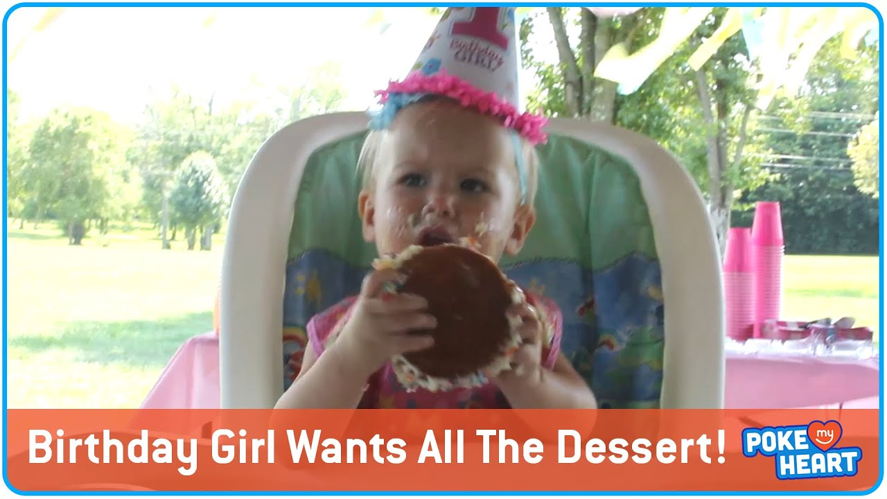 One Year Old Birthday Girl Wants All The Dessert!