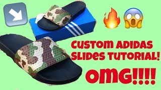 new concept dd3e3 275cf HOW TO CUSTOMIZED ADIDAS SLIDES TUTORIAL (time-lapse) ...