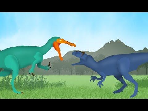 Dinosaurs Cartoons Battles: Allosaurus vs Suchomimus. Динозавры Мультфильм