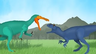 Dinosaurs Cartoons Battles: Allosaurus vs Suchomimus. Динозавры Мультфильм