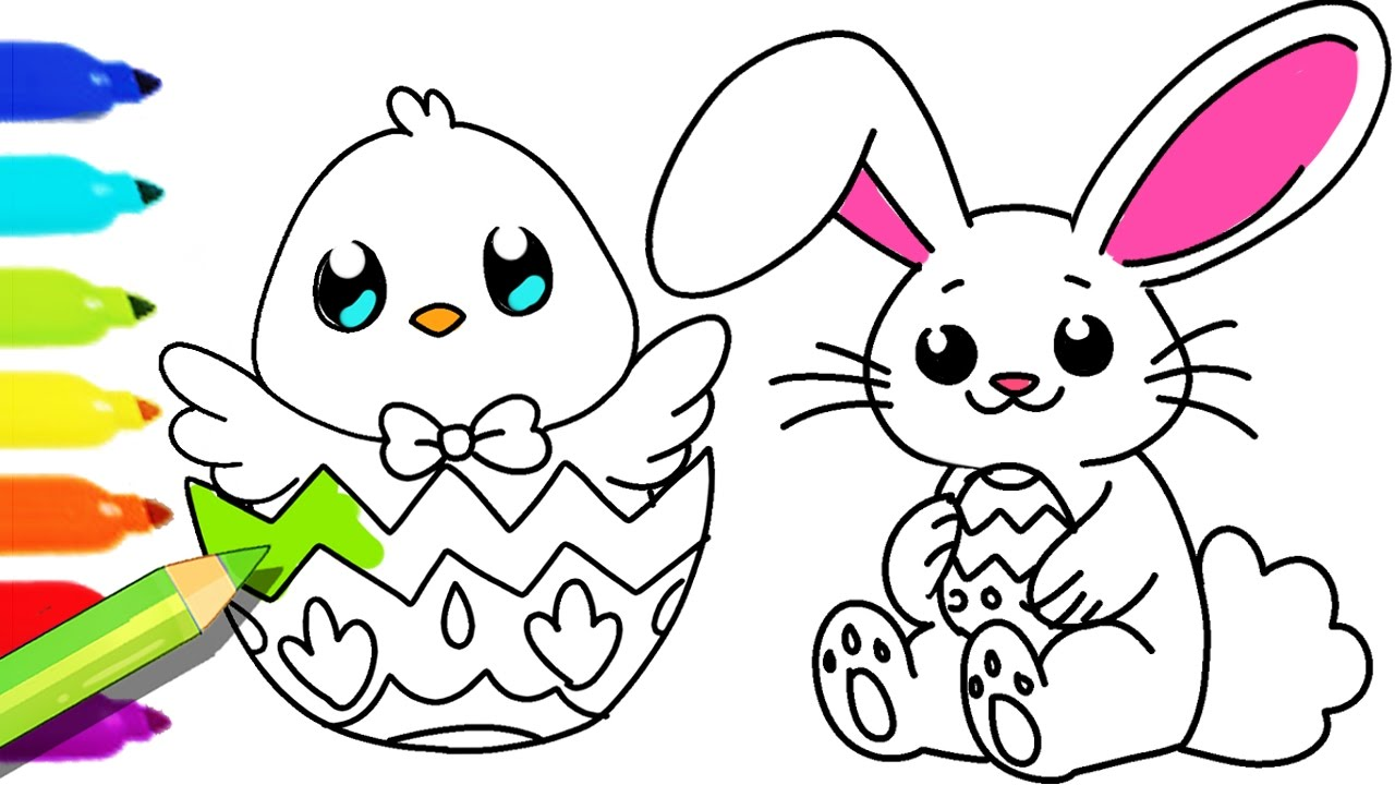 How to Draw and Color Easter Bunny and Fun Colouring pages for kids ...