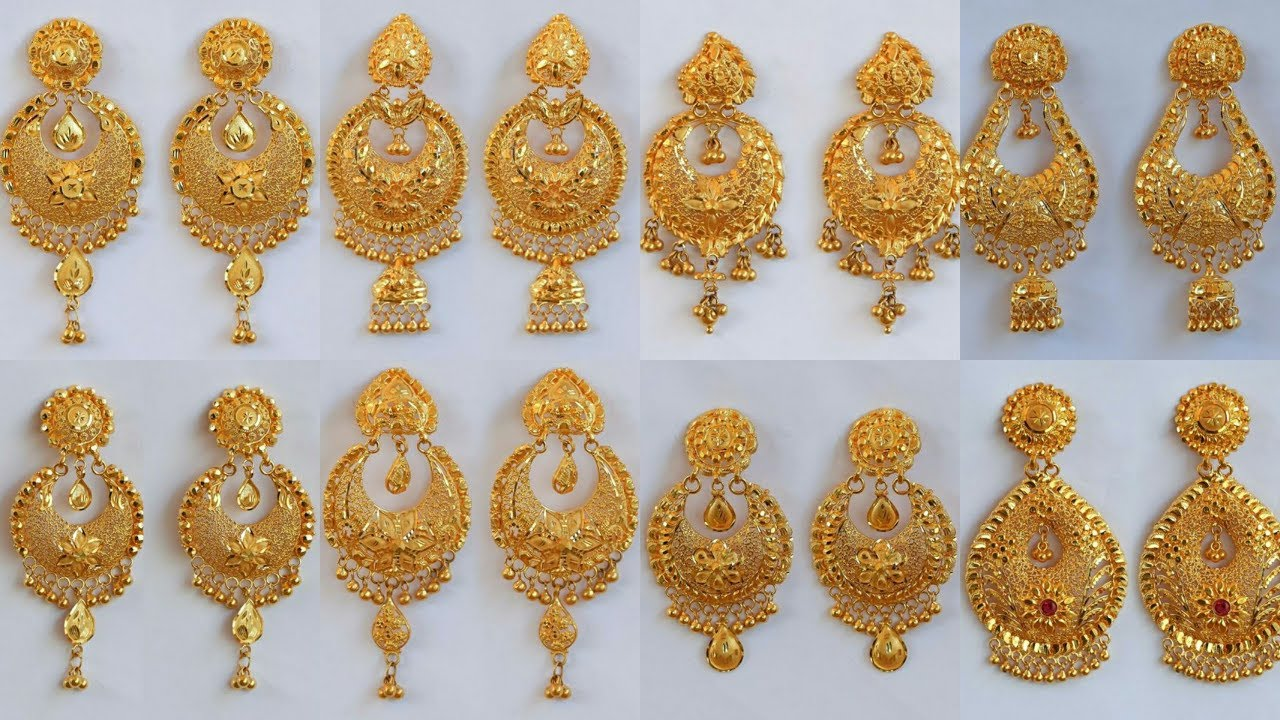 pure gold chandbali earrings designs with weight and
