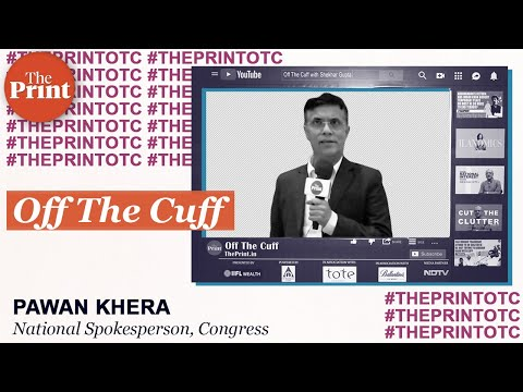 Pawan Khera at ThePrint's Off The Cuff with Chhattisgarh CM Bhupesh Baghel on 7 December 2019
