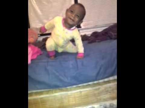 8 Month Old Gets Off Bed But Falls Lol