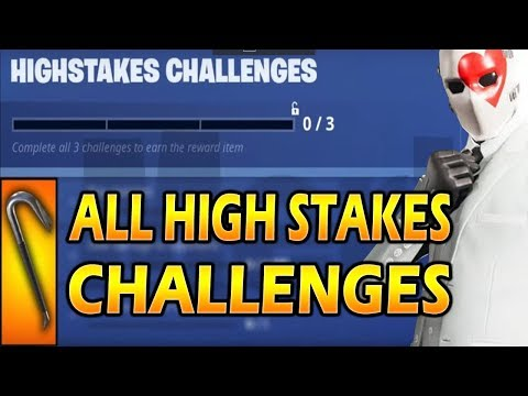 Fortnite: ALL HIGH STAKES CHALLENGES GUIDE! PICK UP 5 JEWELS IN DIFFERENT LOCATIONS! DEAL 500 DAMAGE