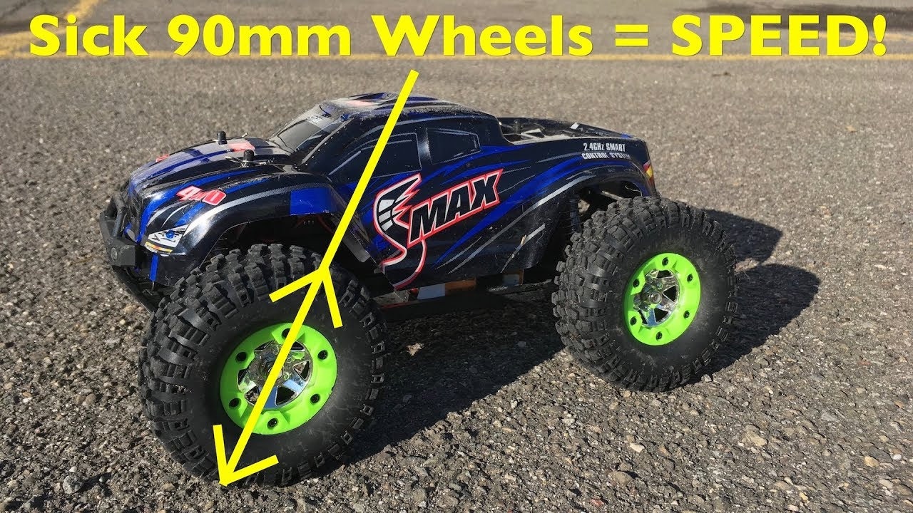 Sick 90mm Wheels On A 3S Brushless Remo Hobby SMAX - Even Faster!