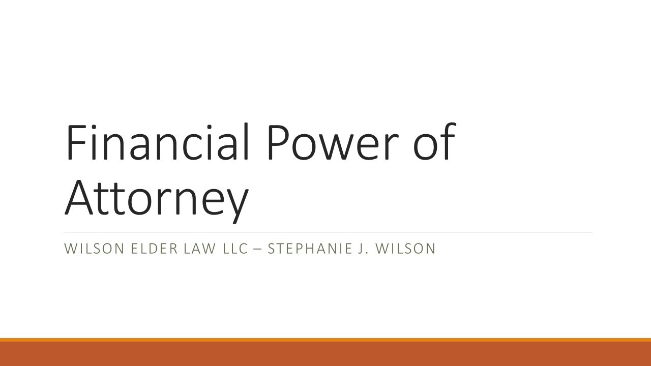 Financial power of attorney youtube falaconquin