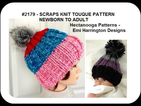 Knitted Touque Hat Pattern Scraps Hat Newborn To Adult 2179