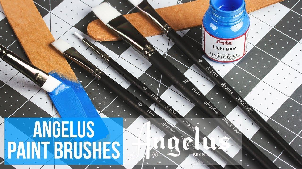 Angelus Paint Brush Set Round Flat Angular Artist Acrylic Paint Brush Set Shoe paint Brush set 5 pcs