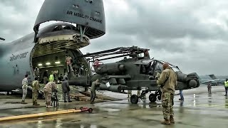 Apache Helicopters Offload From C-5M Super Galaxy In Germany