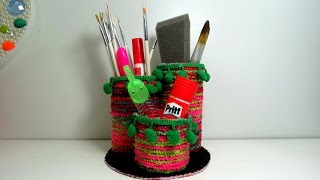 Porta pincéis ou lápis feito com materiais reciclados