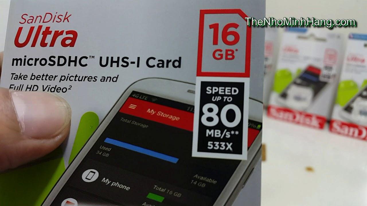 Micro Sdhc Sandisk Ultra 16g 80mb S Class 10 Youtube C10 32gb