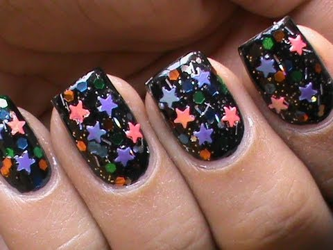 How to Do Star nail Art Designs : Glitter Nail Polish & Small Stars ! - How To Do Star Nail Art Designs : Glitter Nail Polish & Small Stars
