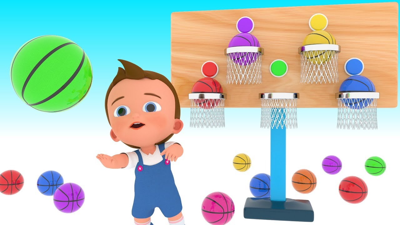 Basketball Game Play By Little Baby To Learn Colors For