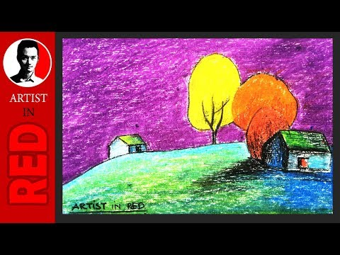 How to draw the purple sky landscape ⦿ Artist in Red