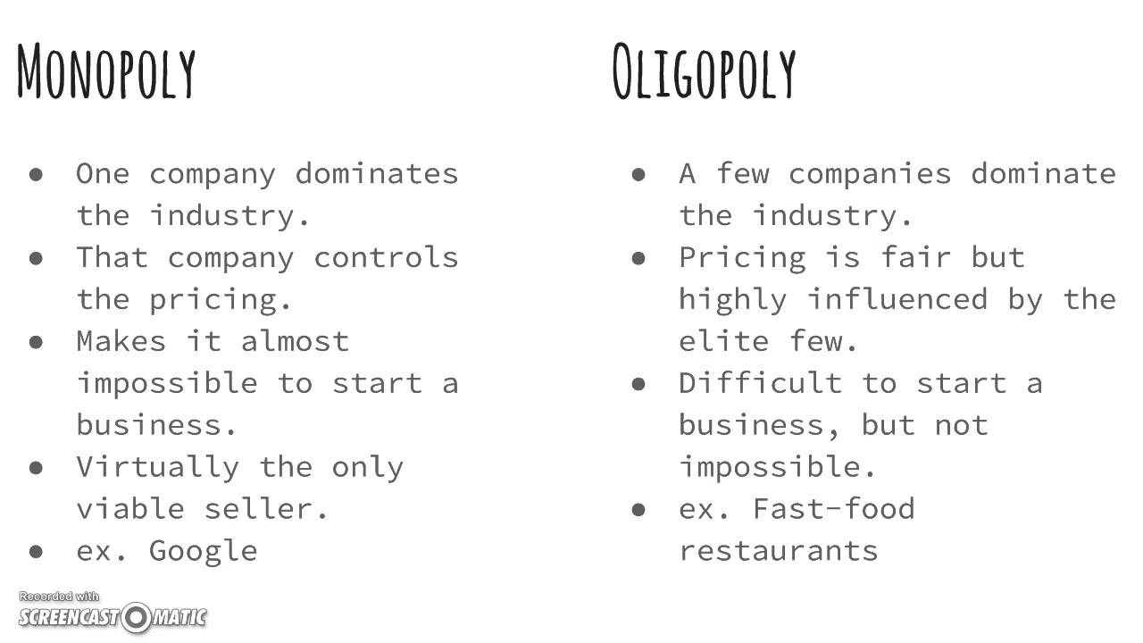 oligopoly versus monopoly competition Ch 10 perfect competition, monopoly, and monopoly monopolistic competition oligopoly 5 perfect competition (pc) versus.