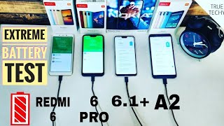 Nokia 6.1 Plus,Redmi 6 Pro,Redmi 6,Mi A2 Battery test,After Update Review,Charging time