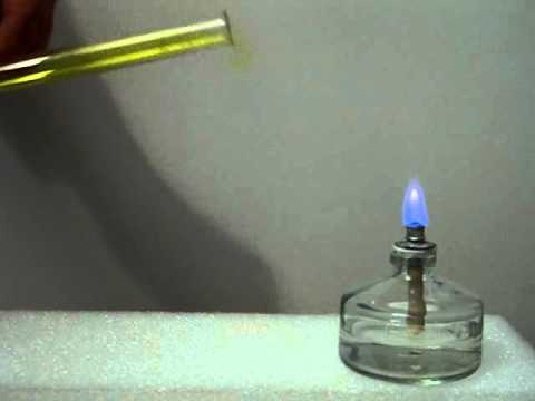 Igniting the pure chlorine dioxide gas in a test tube