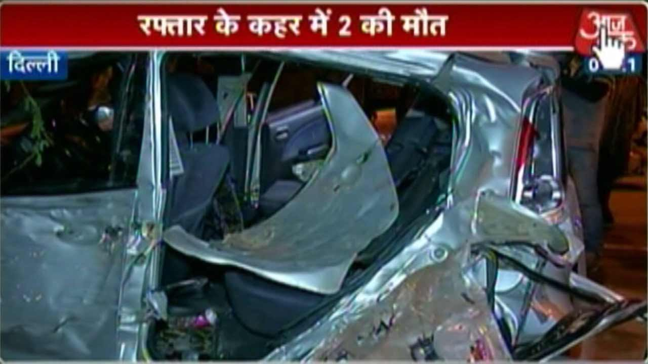 delhi: 2 killed, 3 critical in road accident - youtube