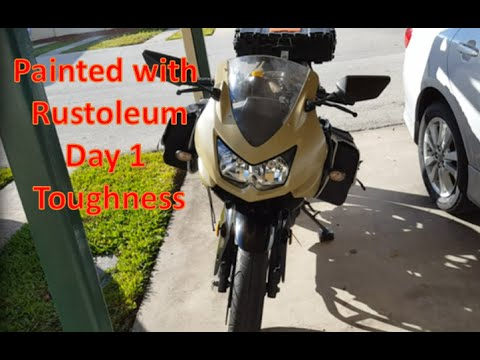 Motorcycle spray painted with Rustoleum! Day 1 Toughness check