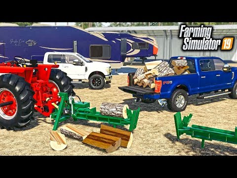CAMPING TRIP! GATHERING & SPLITTING FIREWOOD FOR COLD NIGHTS (MULTIPLAYER) | FARMING SIMULATOR 2019